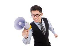 Rolig man med högtalaren Fotografering för Bildbyråer