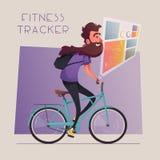 Rolig man med lång skäggritt en cykel Kort och modell med cykeln den främmande tecknad filmkatten flyr illustrationtakvektorn stock illustrationer