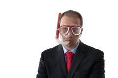 Rolig man med maskeringen och snorkeln arkivfoton