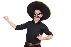 Rolig man som bär mexikanska den isolerade sombrerohatten Arkivbilder