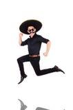 Rolig man som bär mexikanska den isolerade sombrerohatten Royaltyfria Foton