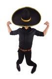 Rolig man som bär mexikanska den isolerade sombrerohatten Arkivfoton