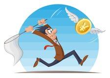 Rolig man som försöker att fånga yenmyntet med en fjäril netto Arkivfoton