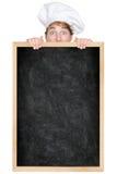 rolig meny för blackboardkock som visar tecknet Royaltyfria Foton