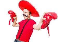 Rolig mexikan med boxarehandskar royaltyfria bilder