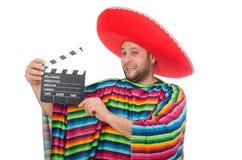 Rolig mexikan med clapper-brädet som isoleras på royaltyfri fotografi