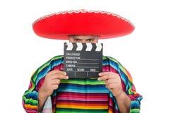Rolig mexikan med clapper-brädet som isoleras på royaltyfri foto