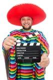 Rolig mexikan med clapper-brädet som isoleras på vit arkivfoton