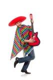 Rolig mexikan med gitarren som isoleras på vit fotografering för bildbyråer