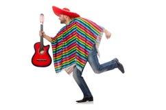 Rolig mexikan med gitarren som isoleras på vit royaltyfri foto