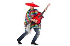 Rolig mexikan med gitarren som isoleras på vit arkivfoto