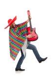 Rolig mexikan med gitarren som isoleras på viten royaltyfri foto