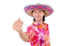 Rolig mexikan med sombreron royaltyfri bild