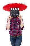 Rolig mexikan med sombreron arkivfoto