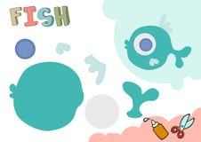 Rolig modell för fiskpapper Litet hem- hantverkprojekt, DIY-papperslek Klipp ut och limma Utklipp för barn vektor royaltyfri illustrationer