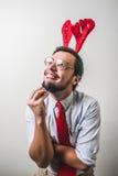 Rolig nerd för Santa Claus babbonatale arkivfoton