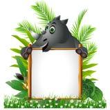 Rolig noshörning med brädet Stock Illustrationer