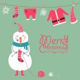 Rolig och gullig julkort Arkivbild