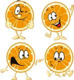 Rolig orange tecknad filmintelligens räcker och lägger benen på ryggen Royaltyfria Bilder
