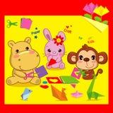 Rolig origami, djura vänner och origami Royaltyfri Bild