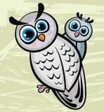 Rolig owl för två tecknad film Arkivbild