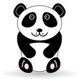 Rolig panda på en vit bakgrund Royaltyfria Bilder