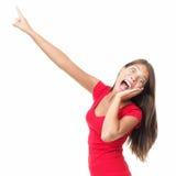 rolig pekande skrika förvånad kvinna Royaltyfri Fotografi
