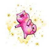 rolig pig Isolerat på vit Gullig vattenfärgillustration Symbol av året i den kinesiska kalendern arkivbild