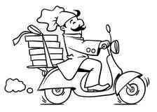 Rolig pizzakock på sparkcykeln Pizzaleveransemblem stock illustrationer