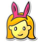 Rolig playgirlklistermärke, emojismileyframsida Arkivbilder