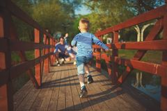 Rolig pojkespring på träbron royaltyfri foto