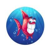 Rolig röd fisk för vektortecknad filmillustration stock illustrationer