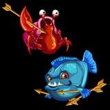 Rolig röd krabba och blåttpiranha med guld- pilar vektor illustrationer