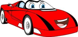 Rolig röd kulör tecknad filmbil Royaltyfri Bild