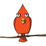 Rolig röd tecknad filmfågel. Vektorillustration Royaltyfri Foto