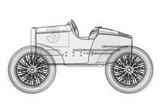 Rolig retro framtida affisch för trådkortslutningsbil på vit Royaltyfria Bilder