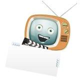 Rolig retro TV och clapper Arkivfoto