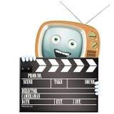 Rolig retro TV och clapper Arkivfoton