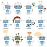 rolig robotset för tecknad film Royaltyfri Foto