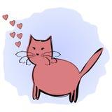 Rolig rosa katt och hjärtor som omringas av en konturborste på buse Fotografering för Bildbyråer
