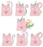 Rolig rosa kattenhörning för stor uppsättning Begrepp av mirakel och magi royaltyfri illustrationer