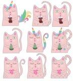 Rolig rosa kattenhörning för stor uppsättning Begrepp av mirakel och magi stock illustrationer