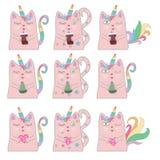 Rolig rosa kattenhörning för stor uppsättning Begrepp av mirakel och magi vektor illustrationer