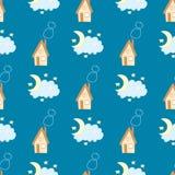 Rolig sömlös modell med huset, himmel och månen på en blå bakgrund Royaltyfri Foto