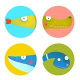 Rolig samling för tecknad filmdjursymboler för ungedesign vektor illustrationer