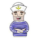 Rolig sjöman för tecknad film vektor arkivbilder