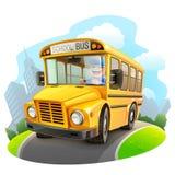 Rolig skolbussillustration Arkivbild