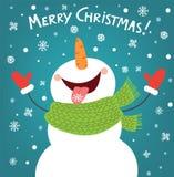Rolig snögubbe som tycker om snöflingorna card den jul räknade treen för snowmanen för snow för illustrationbergnatten Royaltyfri Bild