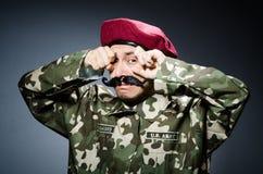 Rolig soldat i militär Arkivbild