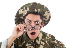 Rolig soldat i militär Arkivfoto